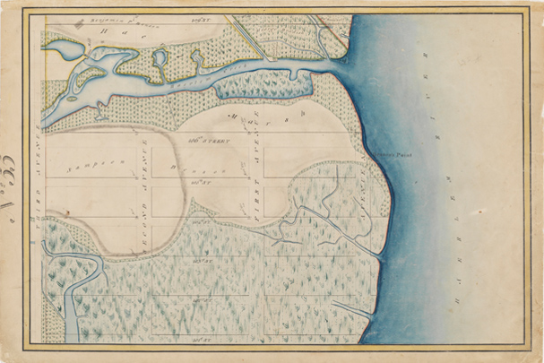Randel Farm Map no. 55, vol. 1, p. 16, showing 101st to 109th Street, from Third Avenue to the East River, July 21, 1820. Used with permission of the City of New York and the Office of the Manhattan Borough President.