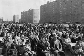 Opening day at Pruitt Igoe. Photo via http://www.pruitt-igoe.com/urban-history/