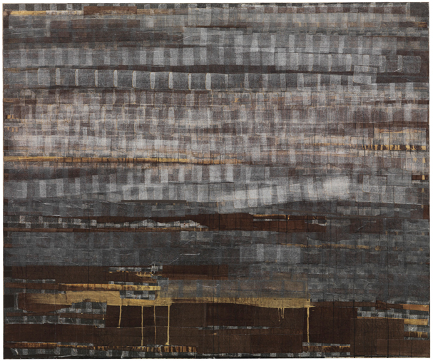 Mark Bradford, Smokey, 2003; billboard paper, photomechanical reproductions, acrylic gel medium, permanent-wave end papers, and additional mixed media on canvas; 60 x 72 inches; collection of Anne and Joel Ehrenkranz; © Mark Bradford; photo: Bruce M. White