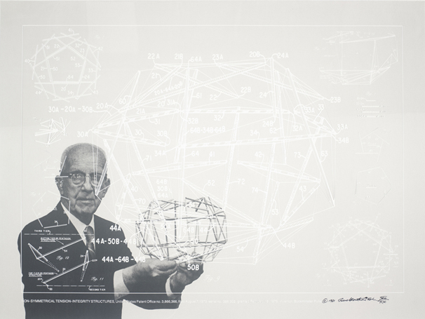 "Buckminster Fuller and Chuck Byrne, Non-Symmetrical Tension-Integrity Structures, United States Patent Office no. 3,866,366, from the portfolio Inventions: Twelve Around One, 1981; screen print in white ink on clear polyester film; 30""x 40""; Collection SFMOMA, gift of Chuck and Elizabeth Byrne; © The Estate of R. Buckminster Fuller, all rights reserved. Published by Carl Solway Gallery, Cincinnati."