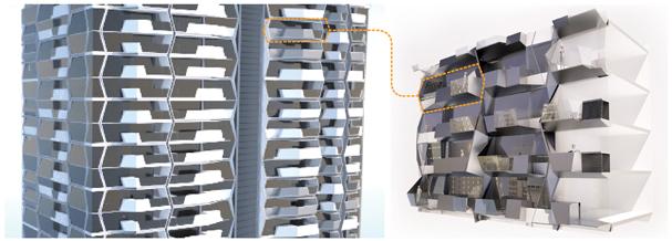 UNStudio softBIM, Library of hexagon components and small-scale differentiation. Image: UNStudio through Gustav Fagerström, Marc Hoppermann, Nuno Almeida, Martin Zangerl, Stefano Rocchetti, Ben van Berkel.